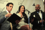 (L-R) Actor Adam Jacobs, Courtney Reed, and James Monroe Inglehart attend the 2016 Drama League Award Nominee Announcement Ceremony at Sardi's on April 20, 2016 in New York City.