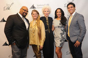 (L-R) Actors James Monroe Inglehart, Bonnie Comley, Jano Herbosch. Courtney Reed, and Adam Jacobs attend the 2016 Drama League Award Nominee Announcement Ceremony at Sardi's on April 20, 2016 in New York City.