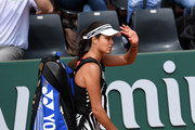 A dejected Ana Ivanovic of Serbia walks off the court following her defeat during the Ladies Singles third round match against Elina Svitolina of Ukraine on day seven of the 2016 French Open at Roland Garros on May 28, 2016 in Paris, France.