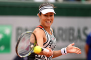 Ana Ivanovic of Serbia plays a forehand during the Women's Singles first round match against Oceane Dodin of France on day three of the 2016 French Open at Roland Garros on May 24, 2016 in Paris, France.