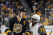 John Scott #28 of the Arizona Coyotes talks with P.K. Subban #76 of the Montreal Canadiens during the 2016 Honda NHL All-Star Final Game between the Eastern Conference and the Western Conference at Bridgestone Arena on January 31, 2016 in Nashville, Tennessee.