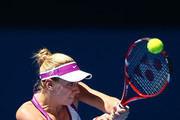 Sabine Lisicki of Germany plays a backhand to Daria Gavrilova of Australia Green during day one of the 2016 Hopman Cup at Perth Arena on January 3, 2016 in Perth, Australia.
