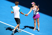 Alexander Zverev and Sabine Lisicki of Germany celebrate a point in the mixed doubles match against Caroline Garcia and Kenny De Schepper of France during day four of the 2016 Hopman Cup at Perth Arena on January 6, 2016 in Perth, Australia.