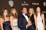 (L-R) Sistine Rose Stallone, model Jennifer Flavin, actor Sylvester Stallone, Sophia Rose Stallone and Scarlet Rose Stallone attend InStyle and Warner Bros. 73rd Annual Golden Globe Awards Post-Party at The Beverly Hilton Hotel on January 10, 2016 in Beverly Hills, California.