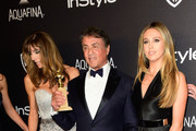 (l-r) Model Jennifer Flavin, actor Sylvester Stallone and Sophia Rose Stallone attend InStyle and Warner Bros. 73rd Annual Golden Globe Awards Post-Party at The Beverly Hilton Hotel on January 10, 2016 in Beverly Hills, California.