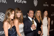 (L-R) Sistine Stallone, model Jennifer Flavin, actor Sylvester Stallone, Scarlet Stallone and Sophia Stallone attend The 2016 InStyle And Warner Bros. 73rd Annual Golden Globe Awards Post-Party at The Beverly Hilton Hotel on January 10, 2016 in Beverly Hills, California.