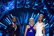 (L-R) Hosts Terrence J, Julianne Hough and Miss USA 2015 Olivia Jordan speak onstage during the 2016 Miss USA pageant at T-Mobile Arena on June 5, 2016 in Las Vegas, Nevada.