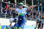 Mathew Hayman of Australia and Orica-GreenEdge crosses the finish line ahead of Tom Boonen of Belgium and Etixx - Quick-Step to win the 2016 Paris - Roubaix cycle race from Compiegne to Roubaix on April 10, 2016 in Roubaix, France.