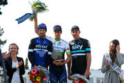 Mathew Hayman of Australia and Orica-GreenEdge celebrates on the podium next to second-placed Tom Boonen of Belgium and Etixx - Quick-Step and third-placed Ian Stannard of Great Britain and Team Sky after winning the 2016 Paris - Roubaix cycle race from Compiegne to Roubaix on April 10, 2016 in Roubaix, France.