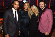 (L-R) Musician John Legend, model Chrissy Teigen, singer Christina Aguilera, and musician Matthew Rutler attend the 2016 Pre-GRAMMY Gala and Salute to Industry Icons honoring Irving Azoff at The Beverly Hilton Hotel on February 14, 2016 in Beverly Hills, California.