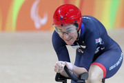 Sarah Storey of Great Britain celebrates after the womens C5 3000m individual pursuit track cycling on day 1 of the Rio 2016 Paralympic Games at the Olympic Velodrome on September 8, 2016 in Rio de Janeiro, Brazil.