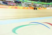 Sarah Storey of Great Britain competes in the Women's C4-5 500m Time Trial Track Cycling on day 3 of the Rio 2016 Paralympic Games at the Olympic Velodrome on September 10, 2016 in Rio de Janeiro, Brazil.