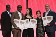 (L-R) Trevor Gale, Tim Blacksmith, Charli XCX, Jamie Dominguez and Rich Christina pose with awards on stage during the 2016 SESAC Pop Music Awards on April 18, 2016 in New York City.