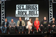 (L-R) Creator/executive producer/showrunner Denis Leary, executive producer Jim Serpico, actors John Corbett, Elizabeth Gillies, Elaine Hendrix, Robert Kelly and John Ales speak onstage at 'Sex&Drugs&Rock&Roll' panel discussion during the FX portion of the 2016 Television Critics Association Summer Tour at The Beverly Hilton Hotel on August 9, 2016 in Beverly Hills, California.