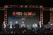 (L-R) Executive producer Brad Simpson, executive producer Scott Alexander, executive producer Larry Karaszewski, actress Sarah Paulson, writer Joe Robert Cole, writer D.V. DeVincentis and director John Singleton speak onstage at 'The People v. O.J. Simpson: American Crime Story' panel discussion during the FX portion of the 2016 Television Critics Association Summer Tour at The Beverly Hilton Hotel on August 9, 2016 in Beverly Hills, California.