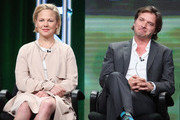 (L-R) Actors Adelaide Clemens and Aden Young speak onstage during the 'SundanceTV/Rectify' panel discussion at the AMC Networks portion of the 2016 Television Critics Association Summer Tour at at The Beverly Hilton Hotel on July 31, 2016 in Beverly Hills, California.