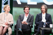 (L-R) Actors Adelaide Clemens, Aden Young and Creator/executive producer/writer/director Ray McKinnon speak onstage during the 'SundanceTV/Rectify' panel discussion at the AMC Networks portion of the 2016 Television Critics Association Summer Tour at at The Beverly Hilton Hotel on July 31, 2016 in Beverly Hills, California.
