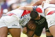 Thretton Palamo of the United States of America and Sonny Bill Williams of New Zealand compete in the scrum during the 2016 Sydney Sevens cup quarter final match between New Zealand and the United States of America at Allianz Stadium on February 7, 2016 in Sydney, Australia.