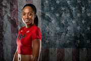 Sprinter Allyson Felix poses for a portrait at the 2016 Team USA Media Summit at The Beverly Hilton Hotel on March 7, 2016 in Beverly Hills, California.