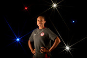 A special effects camera filter was used for this image.) Sprinter Allyson Felix poses for a portrait at the 2016 Team USA Media Summit at The Beverly Hilton Hotel on March 7, 2016 in Beverly Hills, California.