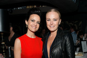 """Actors Carla Gugino and Malin Akerman attend the """"Wolves"""" after party during 2016 Tribeca Film Festival at No. 8 on April 15, 2016 in New York City."""