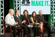 (L-R) EVP, Primetime Alternative, CNBC, Jim Ackerman, Host of 'The Profit' Marcus Lemonis, Investor of 'Restaurant Startup' Elizabeth Blau, Host of 'Follow the Leader' Farnoosh Torabi and Entrepeneur of 'Follow the Leader' John Paul DeJoria speak onstage during the 'CNBC Primetime' panel discussion at the NBCUniversal portion of the 2015 Winter TCA Tou at Langham Hotel on January 14, 2016 in Pasadena, California.