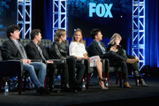 "(L-R) Mentor Scott Borchetta, Host Ryan Seacrest, Judge Keith Urban, Judge Jennifer Lopez, Judge Harry Connick, Jr. and Executive Producer Trish Kinane speak onstage during the ""American Idol"" panel discussion at the FOX portion of the 2015 Winter TCA Tour at the Langham Huntington Hotel on January 15, 2016 in Pasadena, California"