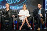 "(L-R) Judge Keith Urban, Judge Jennifer Lopez and Judge Harry Connick, Jr. speak onstage during the ""American Idol"" panel discussion at the FOX portion of the 2015 Winter TCA Tour at the Langham Huntington Hotel on January 15, 2016 in Pasadena, California"