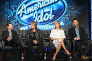 "(L-R) Host Ryan Seacrest, Judge Keith Urban, Judge Jennifer Lopez and Judge Harry Connick, Jr. speak onstage during the ""American Idol"" panel discussion at the FOX portion of the 2015 Winter TCA Tour at the Langham Huntington Hotel on January 15, 2016 in Pasadena, California"