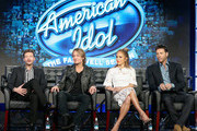 """(L-R) Host Ryan Seacrest, Judge Keith Urban, Judge Jennifer Lopez and Judge Harry Connick, Jr. speak onstage during the """"American Idol"""" panel discussion at the FOX portion of the 2015 Winter TCA Tour at the Langham Huntington Hotel on January 15, 2016 in Pasadena, California"""