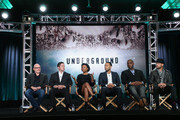 (L-R) Executive Producers Akiva Goldsman, Joe Pokaski, Misha Green, John Legend and Mike Jackson and executive producer/director Anthony Hemingway speak onstage during the Undergournd panel as part of the WGN America portion of This is Cable 2016 Television Critics Association Winter Tour at Langham Hotel on January 8, 2016 in Pasadena, California.