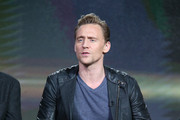 Actor Tom Hiddleston speaks onstage during The Night Manager panel as part of the AMC Networks portion of This is Cable 2016 Television Critics Association Winter Tour at Langham Hotel on January 8, 2016 in Pasadena, California.