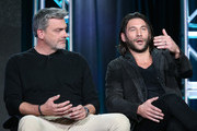 Actors Zach McGowan (R) and Ray Stevenson speak onstage during the Black Sails panel as part of the Starz portion of This is Cable 2016 Television Critics Association Winter Tour at Langham Hotel on January 8, 2016 in Pasadena, California.