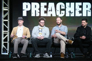 (L-R) Executive producers Sam Caitlin, Seth Rogen and Evan Goldberg and actor Dominic Cooper speak onstage during the Preacher panel as part of the AMC Networks portion of This is Cable 2016 Television Critics Association Winter Tour at Langham Hotel on January 8, 2016 in Pasadena, California.