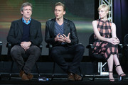 (L-R) Actors Hugh Laurie, Tom Hiddleston and Elizabeth Debicki speak onstage during The Night Manager panel as part of the AMC Networks portion of This is Cable 2016 Television Critics Association Winter Tour at Langham Hotel on January 8, 2016 in Pasadena, California.