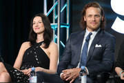 Actors Caitrona Balfe and Sam Heughan speak onstage during the Outlander panel as part of the Starz portion of This is Cable 2016 Television Critics Association Winter Tour at Langham Hotel on January 8, 2016 in Pasadena, California.