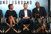 (L-R) Executive Producers Misha Green, John Legend and Mike Jackson speaks onstage during the Undergournd panel as part of the WGN America portion of This is Cable 2016 Television Critics Association Winter Tour at Langham Hotel on January 8, 2016 in Pasadena, California.