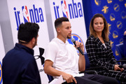 Stephen Curry #30 of the Golden State Warriors and Sonya Curry participate in a Jr NBA clinic and Parent Forum focused on positive coaching at the Ultimate Fieldhouse in Walnut Creek, California on October 11, 2017. NOTE TO USER: User expressly acknowledges and agrees that, by downloading and or using this photograph, user is consenting to the terms and conditions of Getty Images License Agreement. Mandatory Copyright Notice: Copyright 2017 NBAE
