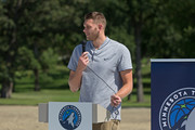 Cole Aldrich #45 of the Minnesota Timberwolves participates in the unveiling and ribbon cutting of a refurbished basketball court as part of the Timberwolves New Era. New Courts. program on August 29, 2017 at Woodlawn Park in Moorhead, Minnesota.  NOTE TO USER:  User expressly acknowledges and agrees that, by downloading and or using this Photograph, user is consenting to the terms and conditions of the Getty Images License Agreement. Mandatory Copyright Notice: Copyright 2017 NBAE