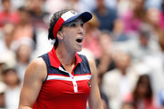 Jelena Jankovic of Serbia celebrates a point in her third round match against Svetlana Kuznetsova of Russia on day five of the 2017 Australian Open at Melbourne Park on January 20, 2017 in Melbourne, Australia.