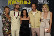 Brittney Marie Cole, Brian Kelley of Florida Gerogia Line, CMT's Lesle Fram, Tyler Hubbard of Florida Georgia Line, and Hayley Hubbard attend the 2017 CMT Music awards at the Music City Center on June 7, 2017 in Nashville, Tennessee.