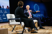 Susan Glasser,Chief International Affairs Columnist, POLITICO, and Tony Blair, Chairman, European Council on Tolerance and Reconciliation & Former Prime Minister, United Kingdom of Great Britain and Northern Ireland, speak at The 2017 Concordia Annual Summit at Grand Hyatt New York on September 18, 2017 in New York City.