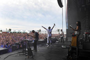 Musicians Eric Cannata, Sameer Gadhia, Jacob Tilley and Payam Doostzadeh of the band Young the Giant perform at the Hangout Stage during 2017 Hangout Music Festival on May 21, 2017 in Gulf Shores, Alabama.