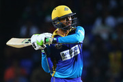 In this handout image provided by CPL T20, Shoaib Malik of the Barbados Tridents is dimissed during Match 16 of the 2017 Hero Caribbean Premier League between St Kitts and Nevis v Barbados Tridents at Warner Park on August 18, 2017 in Basseterre, St Kitts.