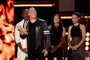 (L-R) Actors Tyrese Gibson, Vin Diesel, Michelle Rodriguez, and Jordana Brewster accept the MTV Generation Award for 'The Fast and the Furious' franchise onstage during the 2017 MTV Movie And TV Awards at The Shrine Auditorium on May 7, 2017 in Los Angeles, California.