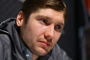LOS ANGELES, CA - JANUARY Sergei Bobrovsky #72 of the Columbus Blue Jackets speaks with the media during 2017 NHL All-Star Media Day as part of the 2017 NHL All-Star Weekend at the JW Marriott on January 28, 2017 in Los Angeles, California.
