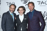 (L-R) Director Luca Guadagnino, actors Timothee Chalamet and Armie Hammer attend the 2017 New York Film Critics Awards at TAO Downtown on January 3, 2018 in New York City.