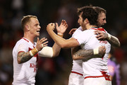 Stefan Ratchford of England celebrates with team mates after scoring a try during the 2017 Pacific Test Invitational match between England and Samoa at Campbelltown Sports Stadium on May 6, 2017 in Sydney, Australia.