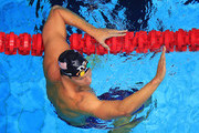 Matt Grevers celebrates after winning the Men's 100 LC Meter Backstroke Final during the 2017 Phillips 66 National Championships & World Championship Trials at Indiana University Natatorium on June 30, 2017 in Indianapolis, Indiana.