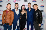(L-R) Stephen Perkins of Jane's Addiction, Rhonda's Kiss CEO Kyle Stefanski, Etty Lau Farrell and Perry Farrell and Chris Chaney of Jane's Addiction attend the 2017 Rhonda's Kiss Benefit Concert at Hollywood Palladium on December 8, 2017 in Los Angeles, California.  (Photo by Emma McIntyre/Getty Images for Rhonda's Kiss) *** Local Caption *** Etty Lau Farrell; Perry Farrell; Kyle Stefanski; Stephen Perkins; Chris Chaney